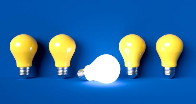 Concetto di idea di lampadine. illustrazione di rendering 3d