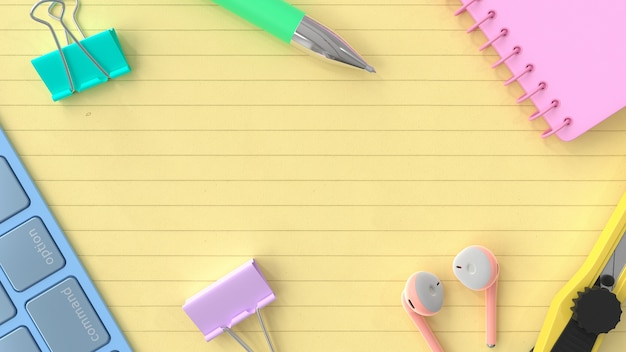 Concetto di idea di sfondo aziendale. taccuino, tastiera con penna color pastello su carta gialla. rendering 3d.