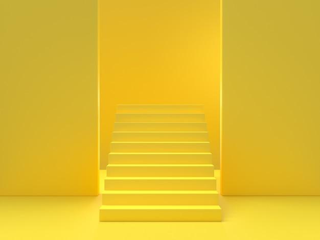 Concetto di idea minima. il fondo giallo delle scale, 3d rende.
