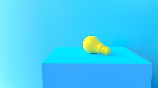 Concetto di idea minima. la lampadina gialla sulla piattaforma del cemento, 3d rende.
