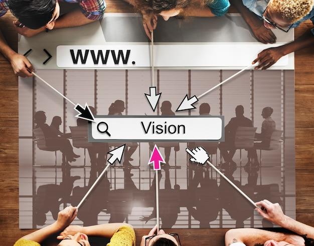 Concetto di idee di motivazione di missione di ispirazione di scopi di visione