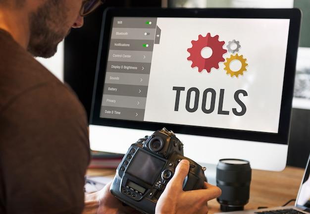 Concetto di installazione di configurazione delle impostazioni degli strumenti