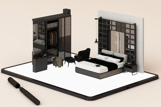Concetto di interior design: uomo d'affari con un tablet con il design degli interni app sullo schermo. rendering 3d