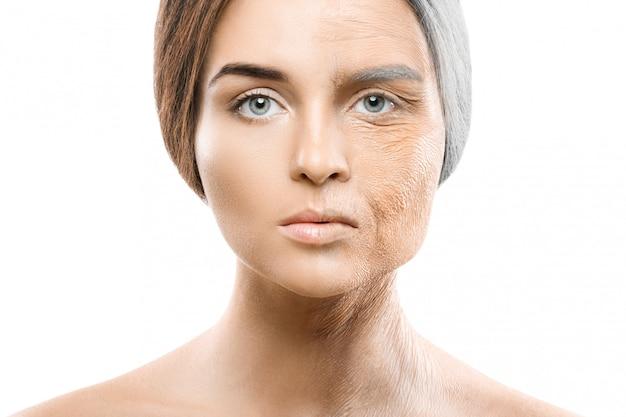 Concetto di invecchiamento. confronto giovane e vecchio.