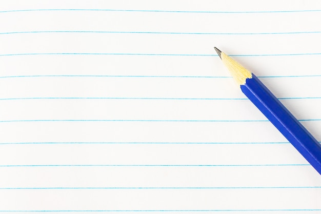 Concetto di istruzione - matita blu sul fondo del libro
