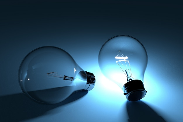 Concetto di lampadine con luce nelle tenebre