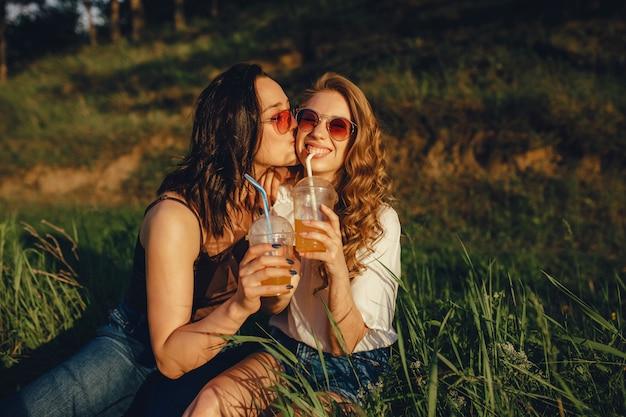 Concetto di lifestyle: ritratto di ragazze felici divertirsi, sedersi sull'erba, baciare sulla guancia, bere cocktail in occhiali da sole, al tramonto, espressione facciale positiva, all'aperto