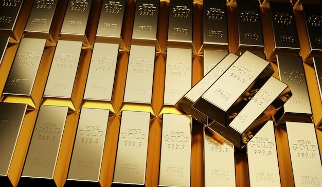 Concetto di lingotti d'oro su valore dell'oro, successo e finanziario