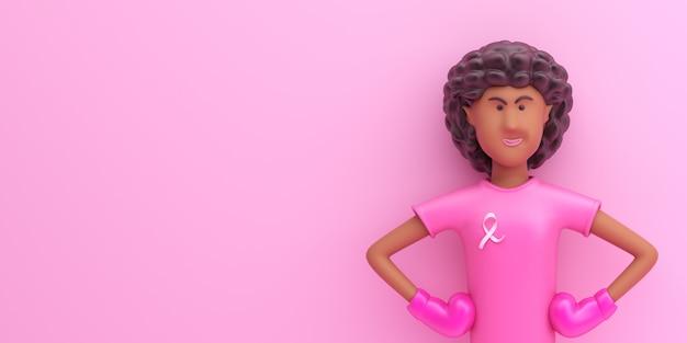 Concetto di mese di consapevolezza del giorno del cancro al seno con personaggio dei cartoni animati di ragazza afro