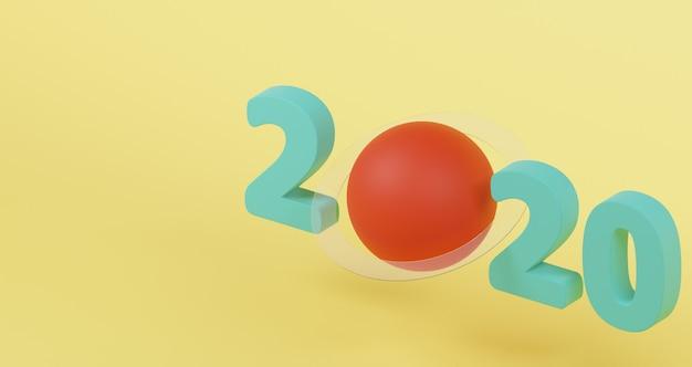Concetto di nuovo anno. green 2020 happy new year e pianeta rosso con anello di vetro.