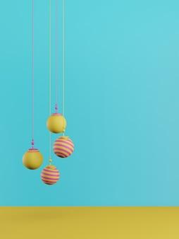 Concetto di nuovo anno. set di palline colorate di natale su sfondo blu.
