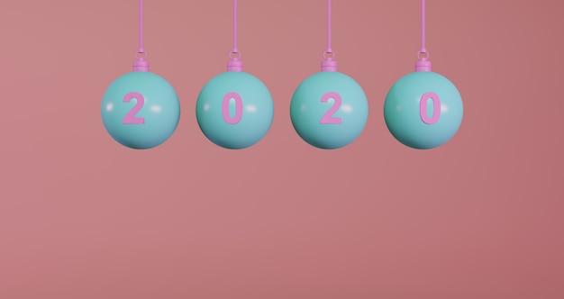Concetto di nuovo anno. set di palline di natale blu e numero 2020 per cambiare l'anno su sfondo rosa.