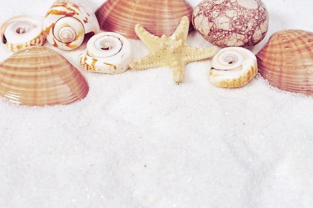 Concetto di ora legale con conchiglie, stelle, ciottoli di mare su fondo di sabbia bianca.