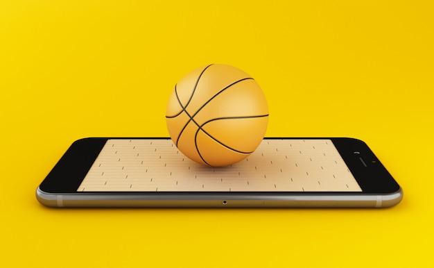 Concetto di pallacanestro e di scommesse online di sorveglianza 3d
