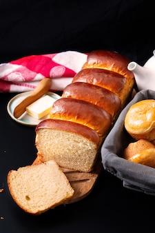 Concetto di panetteria alimentare hokkaido fatto in casa cotto fresco