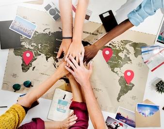 Concetto di pianificazione di Jouney di viaggio di sostegno di lavoro di squadra