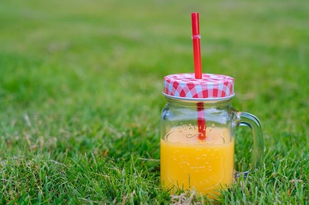 Concetto di picnic estivo in giornata di sole con anguria, frutta, bouquet di ortensie e fiori di girasoli.