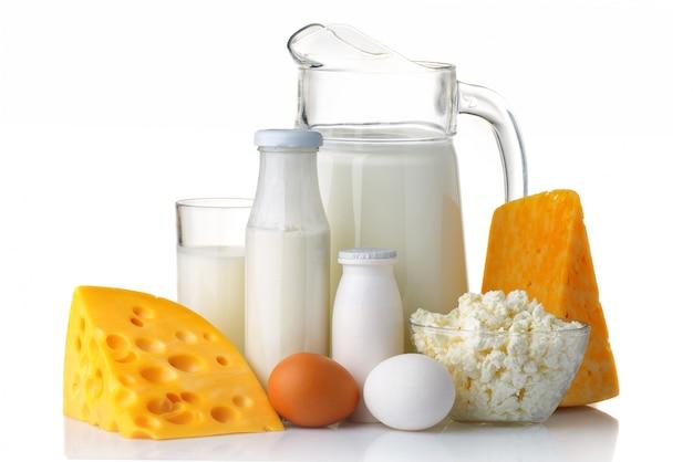 Concetto di prodotti lattiero-caseari e proteici
