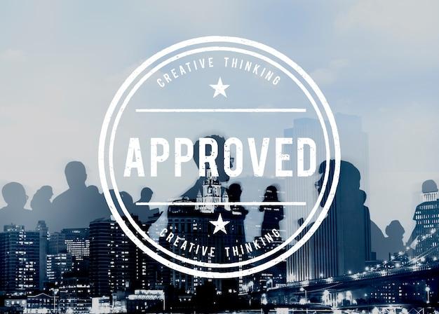 Concetto di prodotto garantito di qualità autentica approvato