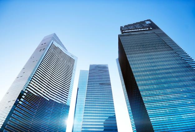 Concetto di prospettiva personale di paesaggio urbano dell'edificio per uffici dell'architettura contemporanea