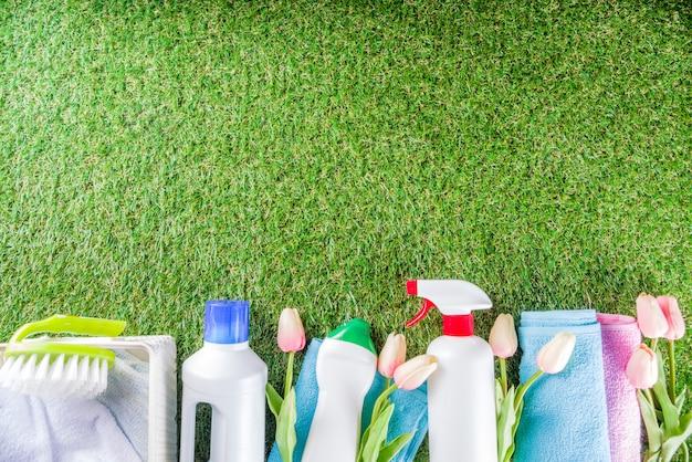 Concetto di pulizie domestiche di primavera