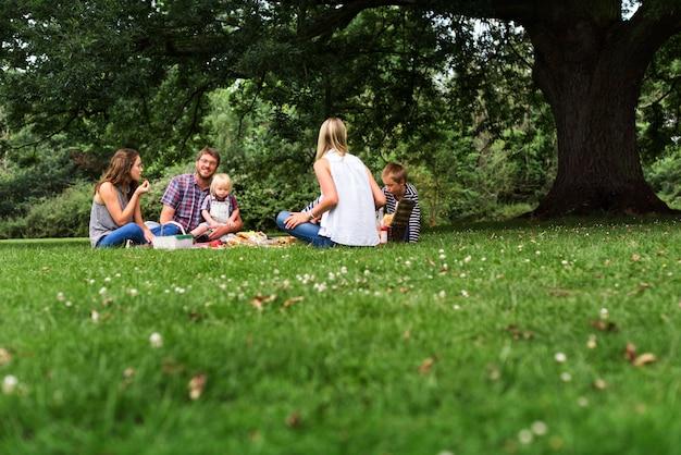 Concetto di rilassamento di unità di picnic delle generazioni della famiglia