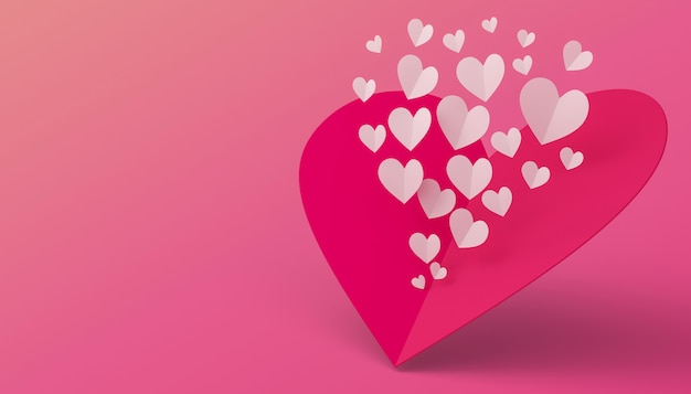 Concetto di san valentino, carta di amore, rappresentazione 3d.