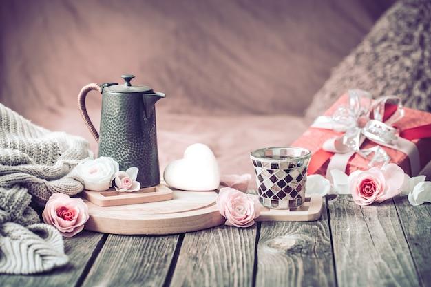 Concetto di san valentino, natura morta festiva