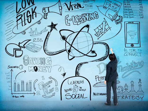 Concetto di scarabocchio del disegno di schizzo di istruzione di e-learning