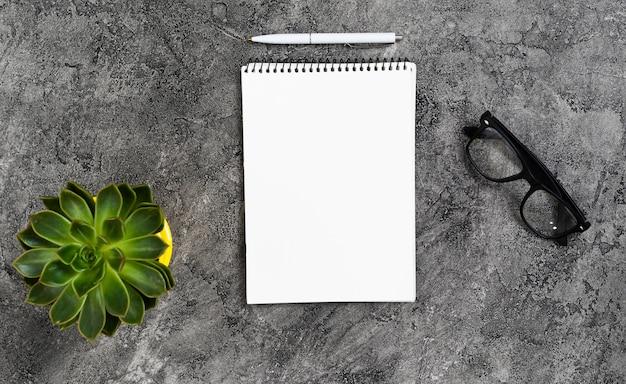 Concetto di scrivania vista dall'alto con notebook