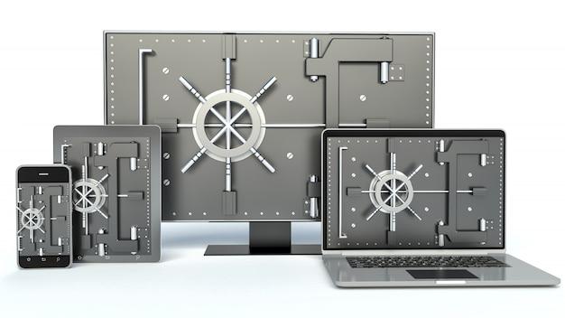 Concetto di sicurezza dei dati. laptop, smartphone, tv e lucchetto a combinazione. 3d