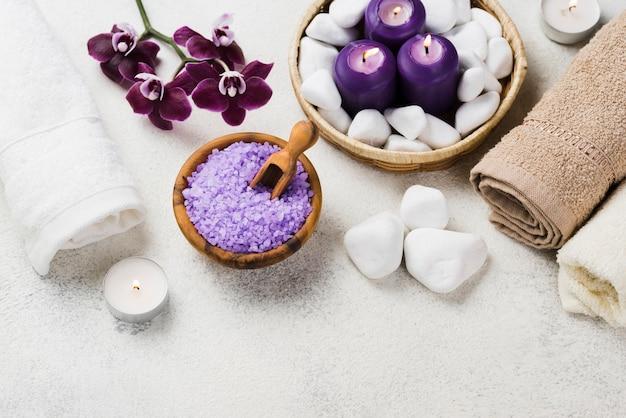 Concetto di spa aromaterapia vista dall'alto