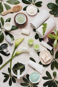Concetto di spa piatta laici con foglie verdi