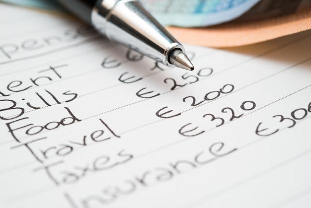 Concetto di spese per la casa