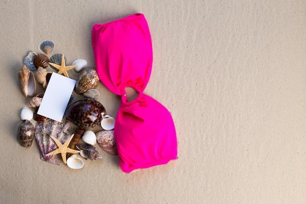 Concetto di spiaggia vacanza con conchiglie, seastars e una cartolina vuota