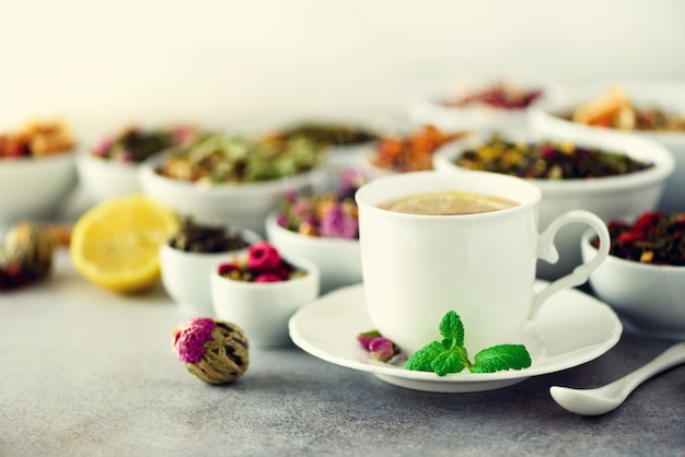 Concetto di tè con spazio di copia. diversi tipi di tè asciutto in ciotole di ceramica bianca e tazza di tè aromatico su sfondo grigio.