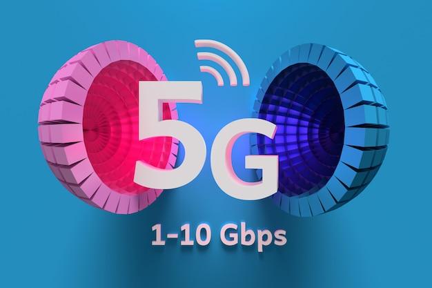 Concetto di tecnologia 5g con grandi sfere blu rosa