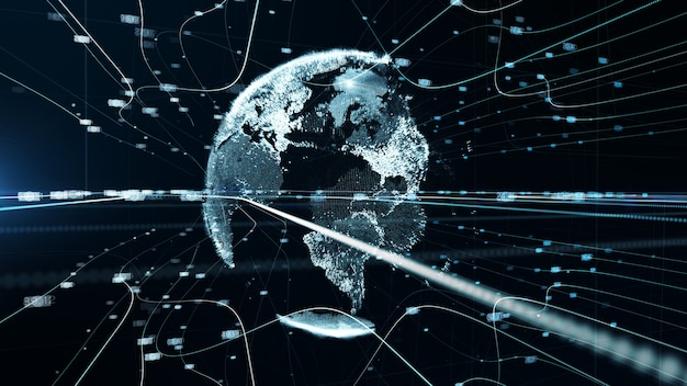 Concetto di tecnologia digitale di rete di dati di particelle di terra blu bianco. rendering 3d.