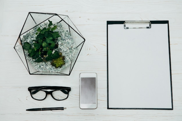 Concetto di ufficio. vaso, blocco note, vetri e telefono di florarium su una priorità bassa bianca.