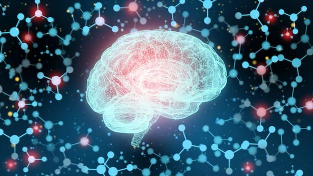 Concetto di un cervello umano attivo su un'oscurità.