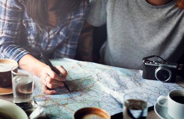 Concetto di vacanza di vacanza turistica di piano di viaggio