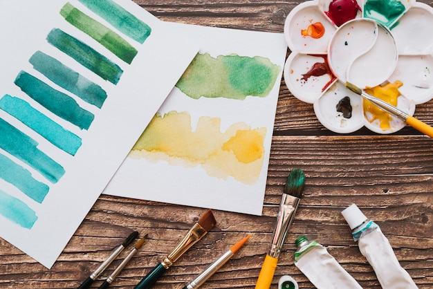 Concetto di vernice e arte vista dall'alto