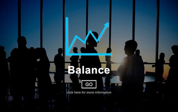 Concetto finanziario dell'interfaccia del grafico dei fondi dell'equilibrio