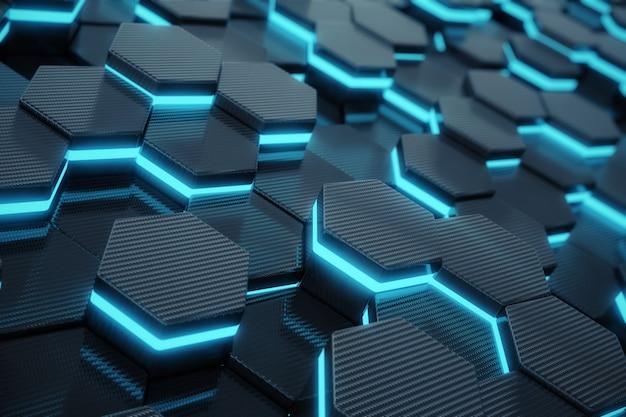Concetto futuristico, incandescente esagonale astratto blu.