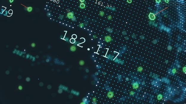 Concetto futuro girante di affari di tecnologia dell'illustrazione 3d del pianeta terra