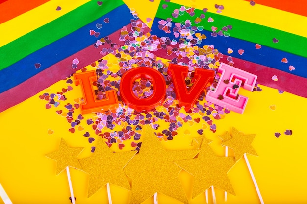 Concetto lgbt, amore del testo, bandiera lgbt