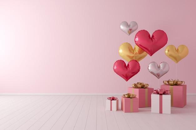Concetto minimale forma di cuore di palloncini colorati con scatola regalo su sfondo rosa.