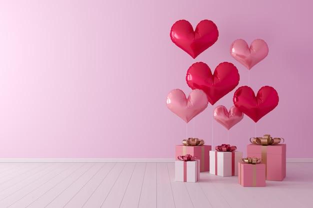Concetto minimale forma di cuore di palloncini con scatola regalo su sfondo rosa.