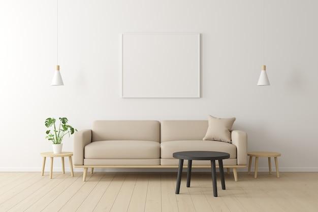 Concetto minimale interno del divano in tessuto beige vivente, tavolo in legno, lampada da soffitto e cornice sul pavimento in legno e muro bianco.