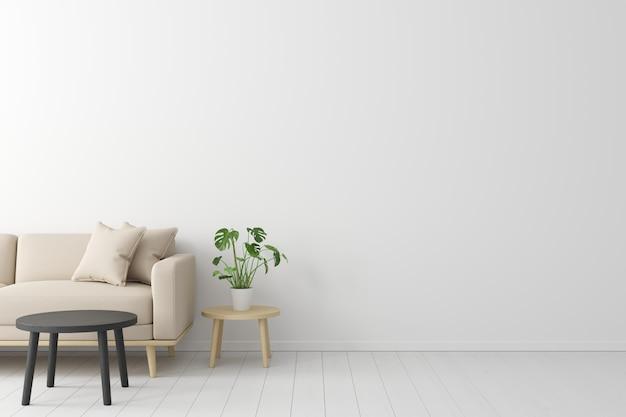 Concetto minimale interno del divano in tessuto beige vivente, tavolo in legno sul pavimento in legno e muro bianco.